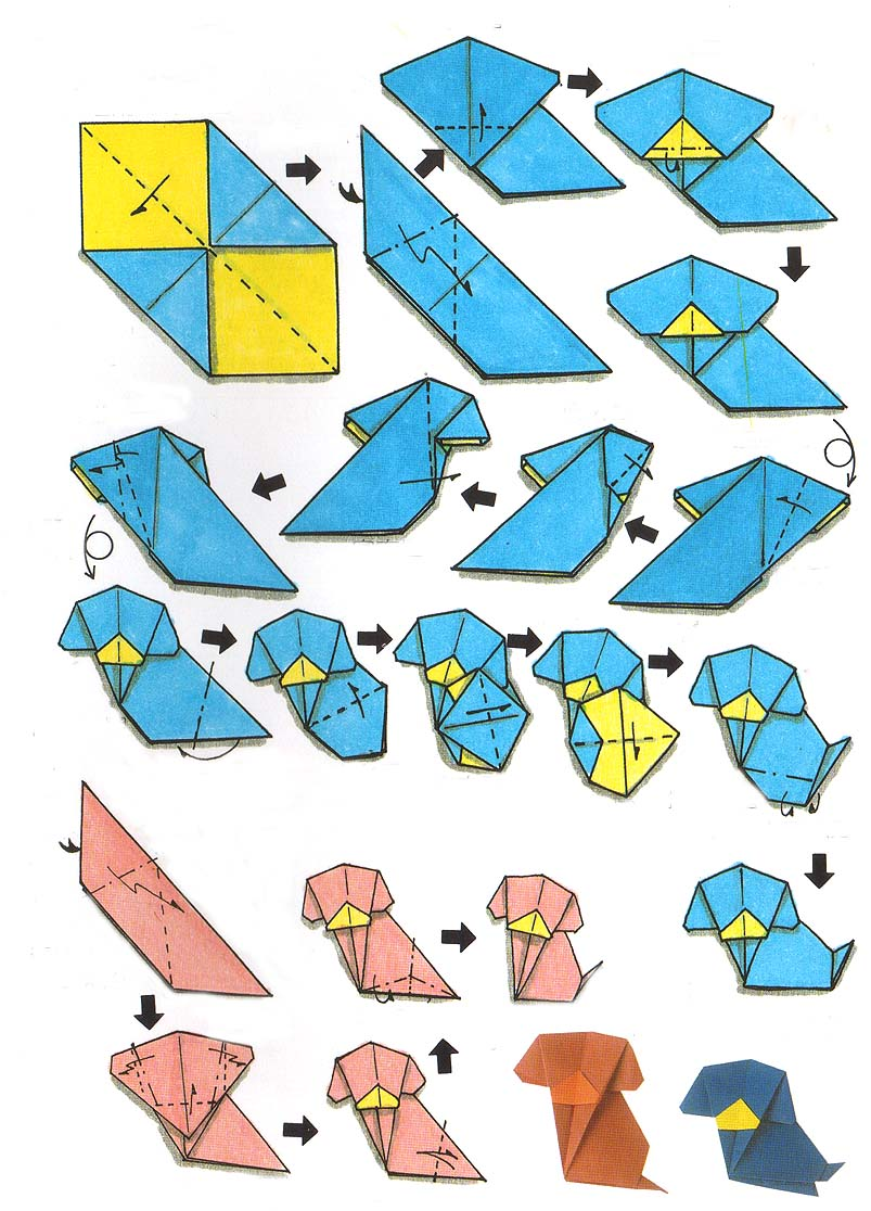 Origami dog face how to origami -  For Folding An Origami Dog Materials 2 Sheets Of Square Origami